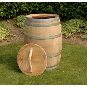 225 Liter Regenfass aus Eichenholz, mit Deckel + Griff