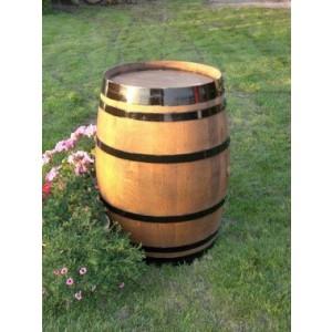 Weinfass aus Eichenholz (225l), hell lasiert, schwarzlackierten Fassringen aus gebrauchtem Weinfass aus massivem Eichenholz