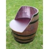 Sessel aus gebrauchtem 225L Barrique-Weinfass aus massivem Eichenholz