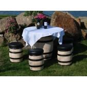 Tisch mit 4 Hockern aus neuen Kastanienholzfässern