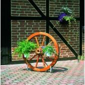 Wagenrad / Kutschrad Ø 90 cm mit Ständer & Blumentopfhaltern