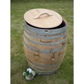 350 Liter Regenfass aus Eichenholz mit Deckel u. Griff