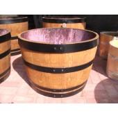 Blumenkübel Miniteich aus 115 Liter Weinfasshälfte, hell lasiert mit schwarzen Fassringen